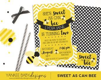 Sweet As Can BEE - Yellow Chevron & Black Polka Dots