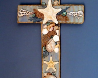 Coastal Cottage Beach decor cross with starfish center and seafan_Large size beach cross_beach decor