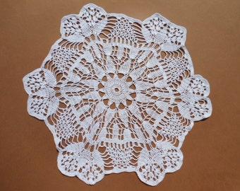 hand crochet doily, white doily