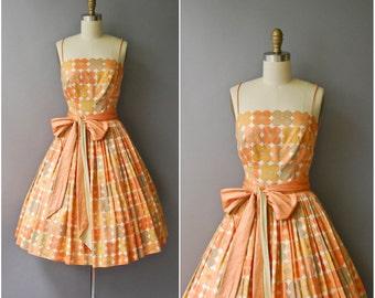 1960's Orange Cotton Sun Dress • extra small