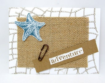 Adventure Card - Starfish Card - Nautical Theme - Beach Card - Blank Card - Burlap - Natural Color - Rustic Chic Style