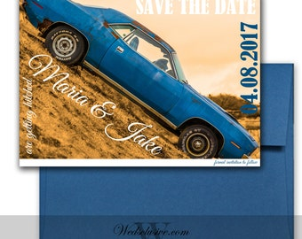 Vintage Save the Date, Unique Wedding Announcements, Vintage Cars, Getting Hitched Save the Dates - DEPOSIT