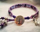 Purple Wrap Ribbon Awareness Bracelet UC, Crohn's Disease, Hodgkins Lymphoma, Lupus Awareness and More Tree of Life Bracelet