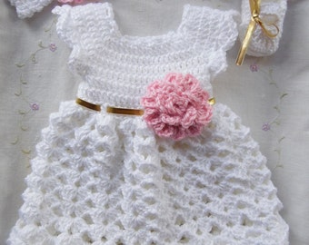 Baby Dress, White Baby Dress, Infant Baby Dress Set, (MADE TO ORDER) White, Gold and Pink Baby Dress Set, Handmade Baby Dress Set, Baby Gift