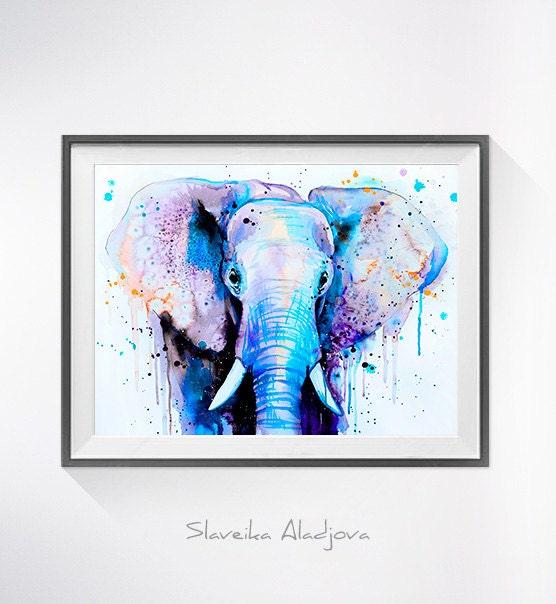 Blue Elephant Head Watercolor Painting Print By Slaveika Aladjova Art Animal Illustration