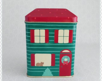 Christmas House Tin, Vintage Hallmark, Small Metal Box, Red Green Cream, Figural Building Tin, Cat in Window, Christmas Tree, Holiday Wreath