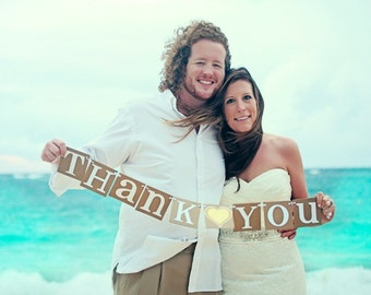 Thank You Sign  Banner / Rustic Wedding Garland/ Thank You Photo Prop / Thank You Wedding Sign / Wedding Decoration