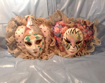 SALE ***Pair of Porcelain Masks on Fabric Heart-Shaped Pillows***