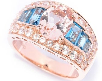 14k Rose Gold 3 7/8ct TGW Morganite, Blue Topaz and White Zircon Engagement Ring