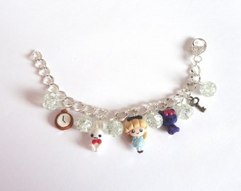 Bracelet charms with Alice in wonderland in polymer clay fairy tale Cat chesire whiterabbit  charms kawaii