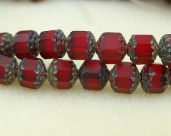 Czech Glass 8mm Cathedral Beads Ruby Matte  12 Pieces