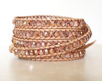 Boho copper crystal wrap/ Bohemian copper bling leather wrapped bracelet/ Czech glass 5 wrap ladder bracelet/ nickel free button