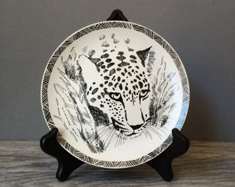 """San Diego Zoo Leopard Plates, Black and White, 1989 Designed by Jill Gotschalk, 7.5"""" Dessert or Luncheon Plates, Set of SIX"""