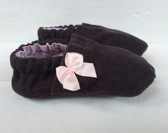 Dark Gray Corduroy Shoes. Baby Shoes. Gray Baby Shoes. Crib Shoes.