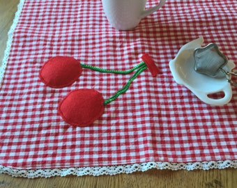 Breakfast red checked tablecloth