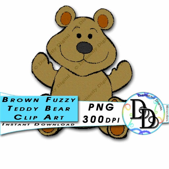 Brown Teddy Bear Clip Art Printable Digital Scrapbook Clipart