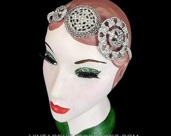 Vintage Art Deco Paste Headpiece, Circles Bridal Headband, 1920s Headpiece, 1920's Headband, Deco Wedding, Art Deco, Flapper, Round, 1930s