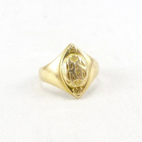 items similar to antique 14k gold signet ring deco