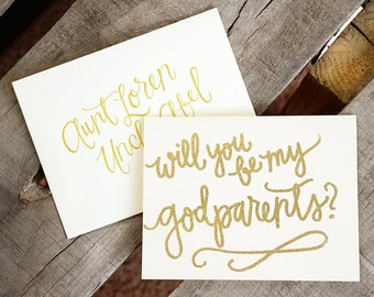 Embossed, Handwritten Godparent Card with Personalized Envelope - Will You Be My Godmother? OR Will You Be My Godfather OR Godparents?
