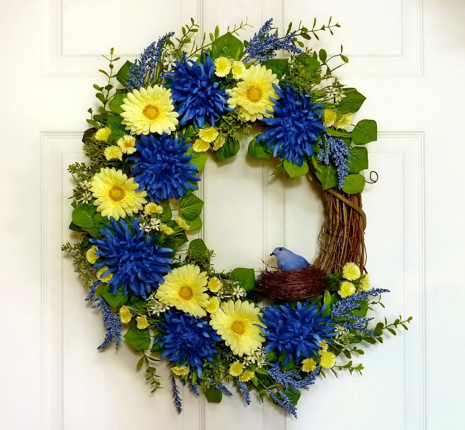 blue bird and daisy wreath spring wreath front door by floralwoods