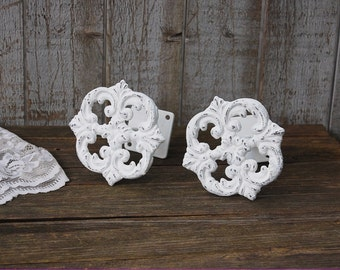 Drapery Tie Backs, Shabby Chic, White, Curtain Tie Backs, Tiebacks, Drapery Holders, Hand Painted, Distressed, Cast Iron, Metal, Nursery