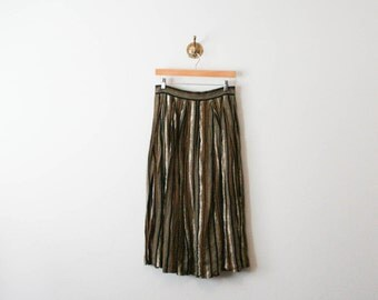 vintage 70s gold striped cotton skirt