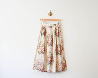 vintage 80s botanical floral cotton midi skirt