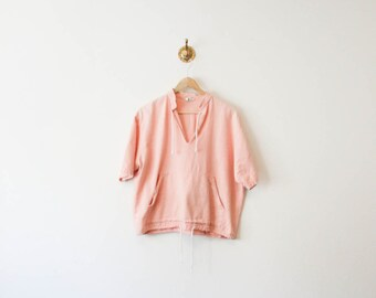 vintage 80s baby pink pocketed pullover