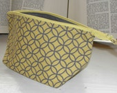 "Small Wide Zipper Pouch, Handmade with Yellow & Gray cathedral fabric, Perfect for cosmetics, knitting, cross stitch, toiletries, ""Grellow"""