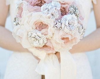 Custom Brooch Bouquet, Fabric Flower Bouquet, Fabric Bouquet, Bridal Bouquet, Wedding Bouquet, Paper Flower Bouquet - 7 inch Bouquet