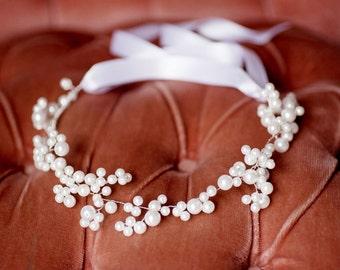 Bridal Pearl Crown, Pearl Headband, Pearl Headpiece - Wedding accessories