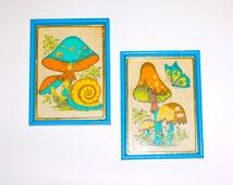 Mushroom Wall Art ~ Retro Artwork ~  Blue, Yellow and Brown Painted Felt ~ Mushroom and Snail ~ Mushroom and Butterfly ~ Blue Wood Frames