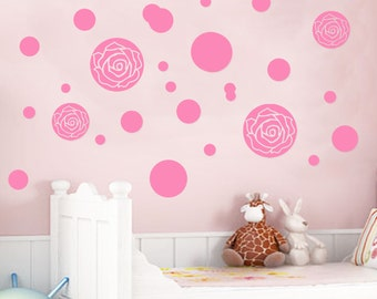 Rose print Polka Dot Wall Stickers vinyl mural Nursery room wall decors