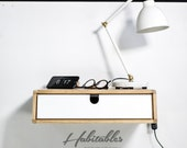 Floating White/wood  nightstand / Bedside Table / Drawer,  Scandinavian Mid-Century Modern Retro Style with 1 drawer