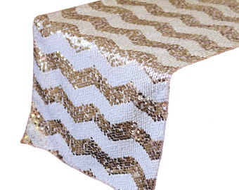 YCC Linen - 14 X 108 Inch Chevron Sequin Table Runner White And Blush