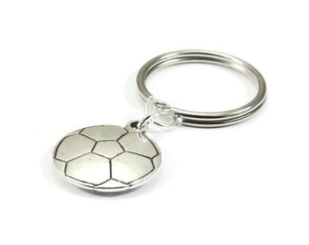 Soccer Ball Key Chain Silver Metal Keyring