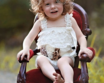 Ivory Lace Romper/Baby Romper/Ivory Baby Romper/Girl Romper/Newborn Romper/Toddler Romper/Lace Romper/Petti Romper/Birthday Romper
