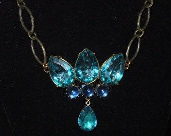 Blue Bejeweled Necklace