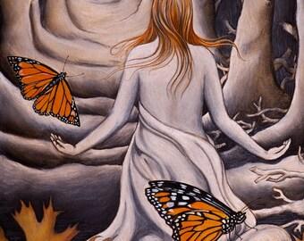 Monarch butterflies,oak leaves,raven skull,trees,woman in nature,flora,fauna,fall,autumn,bones,red hair,portal,doorway,death,charcoal,giclèe