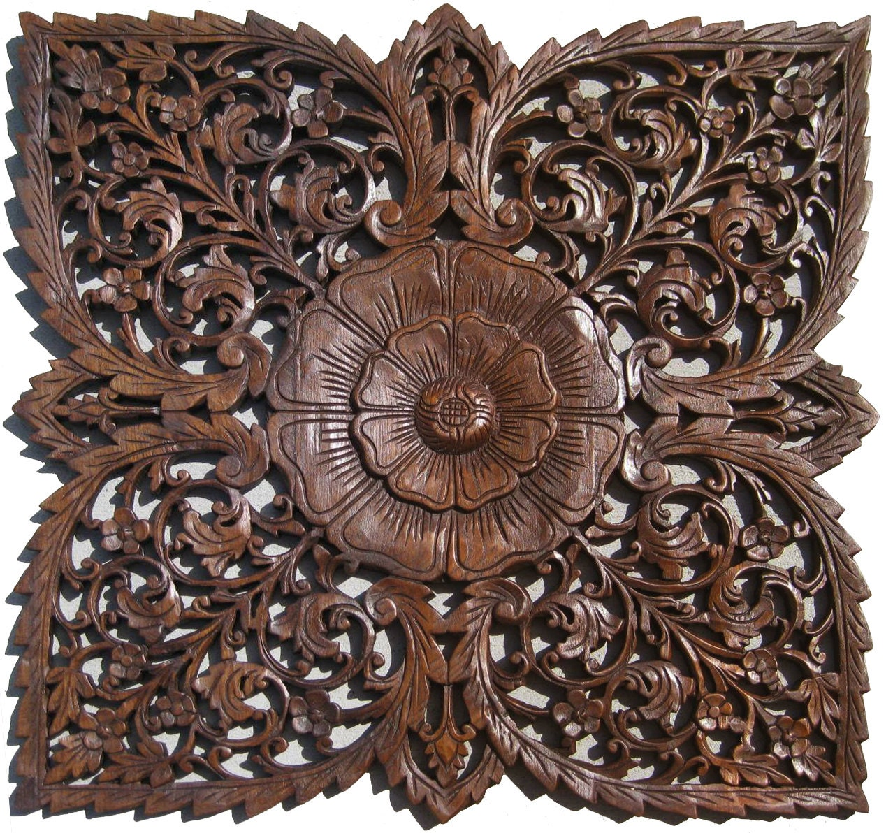 Lotus wooden wall carving hanging handmade by