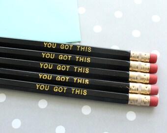 You Got This Pencils, Good Luck Gift, Best Friend Gift, Set of 5 Hex Pencils, Gold Foil Pencils, Engraved Pencils, Imprint Pencils