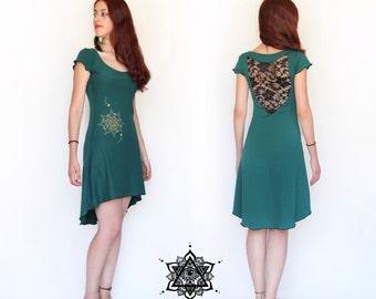 Bohemian lace dress. Crochet dress. Pixie dress. Goddess dress. Elven dress. Romantic dress. Open back dress. Festival. Summer dress. boho