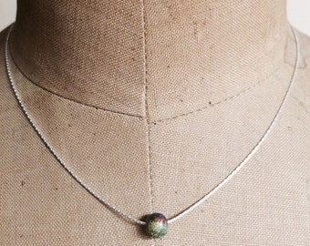 Multicolored bead on sterling silver chain by Apricity Jewelry