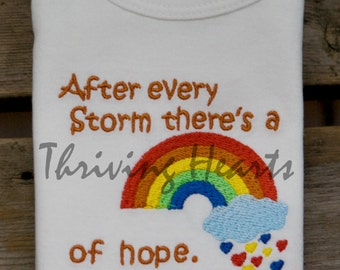 Rainbow Baby Onesie. After Every Storm There's A Rainbow of Hope. Here I Am!