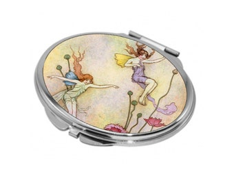 Oval Compact Mirror - Vintage Fairies 2 - Can be Personalised