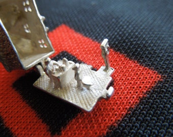 Vintage Nuvo Horseshoe Pub Charm Opens To Bartender Serving Drinks Sterling Silver Charm for Bracelet from Charmhuntress 01764