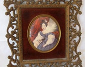 """RARE Victorian Cameo Creation Vintage Large 12"""" Extremely Ornate Hollywood Regency Bubble Convex Glass Gold Framed Portrait of a Lady"""