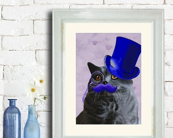 British blue cat art print - Blue Top hat - British shorthair Cat print gift for valentine gift for wife gift for sister birthday cat lover