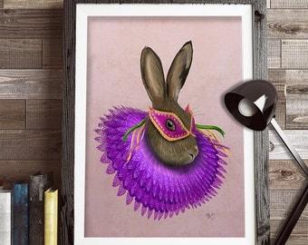 Hare Art Print - Mardi Gras Hare  - Hare painting Hare Print Hare décor Hare Wall art Hare Wall décor hare lover gift mardi gras hat