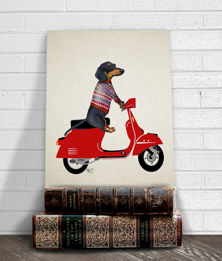 Dachshund Wall Art dachshund wiener dog art print dachshund on moped doxie